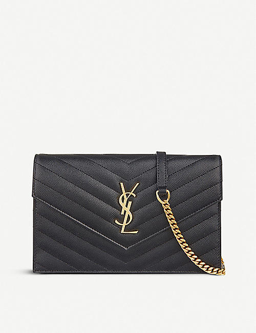 SAINT LAURENT:Monogram 皮革斜挎包