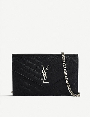 SAINT LAURENT Monogram leather chain wallet