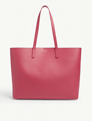SAINT LAURENT Logo leather tote