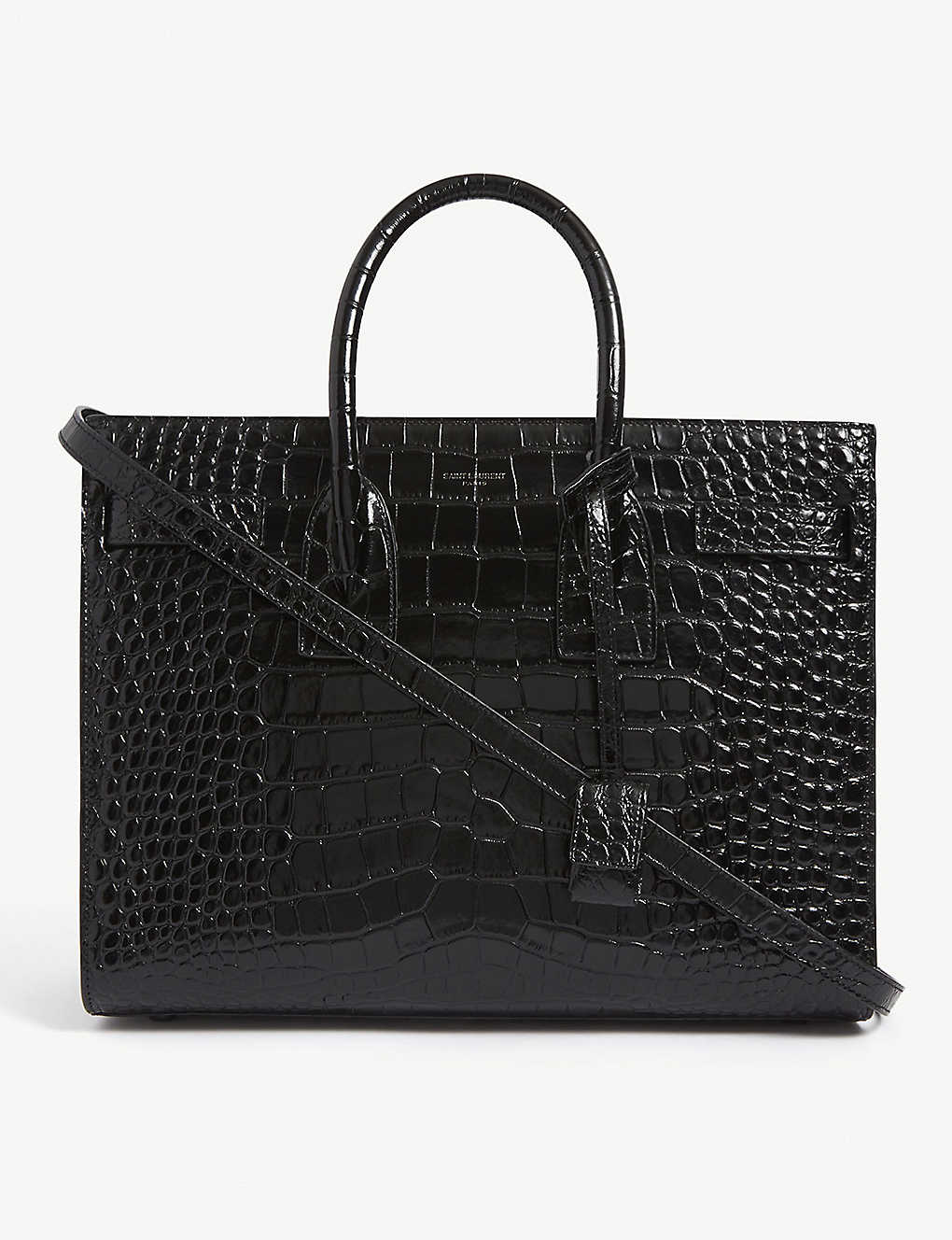 SAINT LAURENT: Sac de Jour croc-embossed leather tote