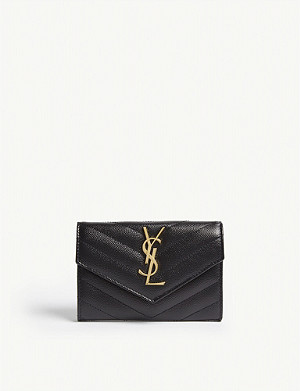 SAINT LAURENT Monogram logo matelassé leather wallet