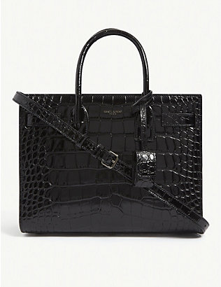 SAINT LAURENT: Baby Sac de Jour croc-embossed tote bag