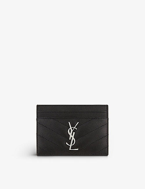 SAINT LAURENT: Monogram quilted leather card holder