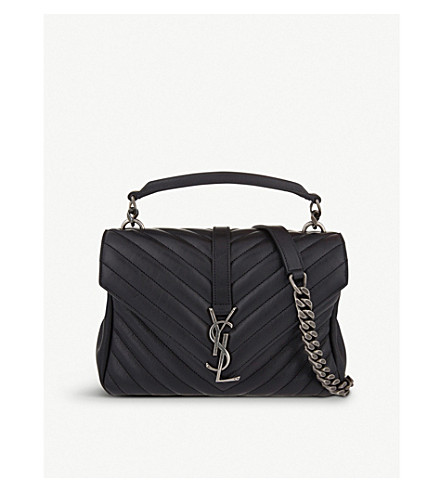 ... SAINT LAURENT Monogram Collège small quilted-leather satchel (Black.  PreviousNext 9c0535814aa09