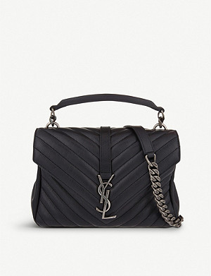 SAINT LAURENT Monogram Collège small quilted-leather satchel