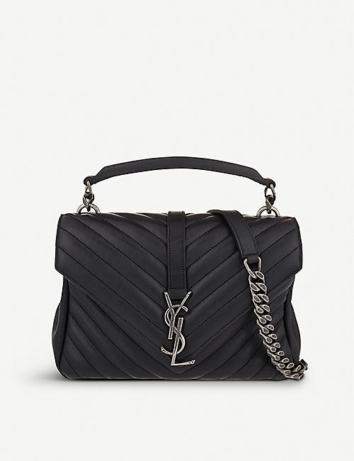 SAINT LAURENT: Monogram Collège small quilted-leather satchel