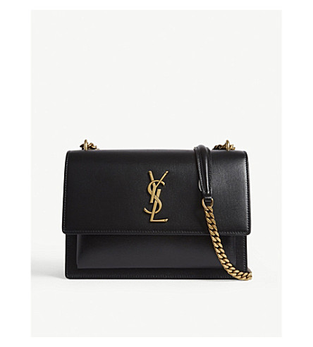 cd078672f1 SAINT LAURENT Monogram Sunset medium leather cross-body bag (Black gold