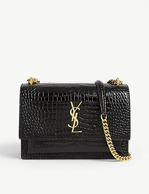 SAINT LAURENT: Sunset Monogram croc-embossed medium leather shoulder bag