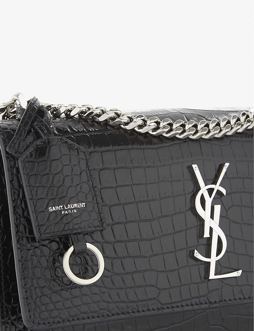 d18a3fe9f5c ... Sunset Monogram medium crocodile-embossed leather shoulder bag - Black  zoom