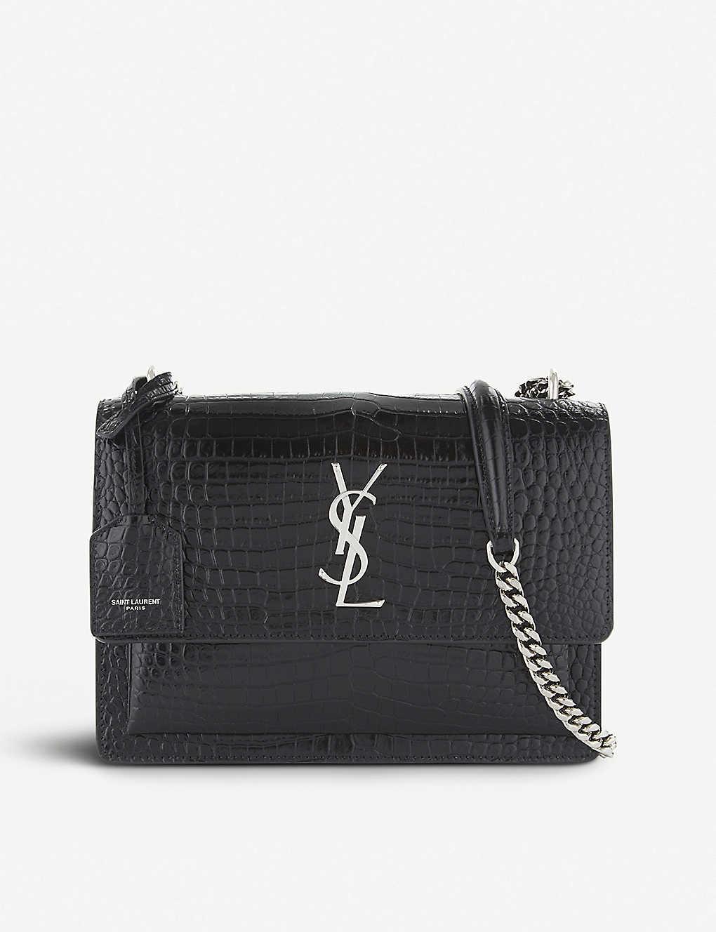 c5d812149a Sunset Monogram medium crocodile-embossed leather shoulder bag - Black ...