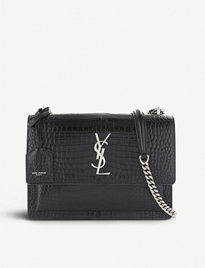 SAINT LAURENT Sunset Monogram medium crocodile-embossed leather shoulder bag