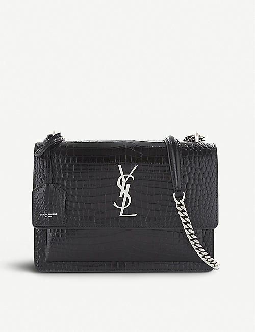 41af59cbd59c SAINT LAURENT Sunset Monogram medium crocodile-embossed leather shoulder bag