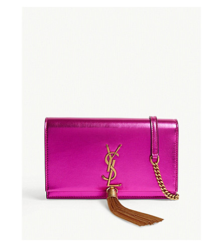 Kate Metallic Leather Wallet-On-Chain in Pink