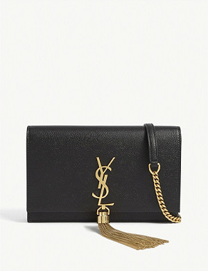 SAINT LAURENT Kate Tassel Monogram leather clutch