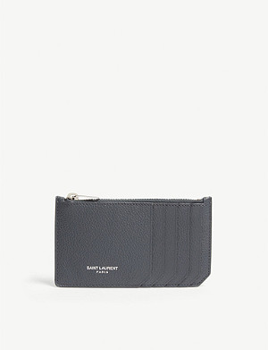 SAINT LAURENT Pebbled leather zipped card holder