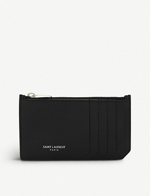 SAINT LAURENT Rive Gauche long leather card holder