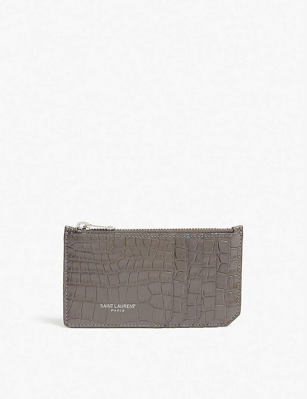 65719187bdb SAINT LAURENT - Fragment croc-embossed leather card holder ...