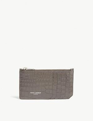 SAINT LAURENT Fragment croc-embossed leather card holder