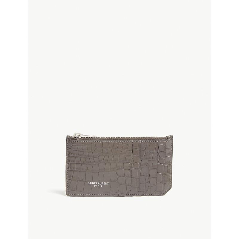 eb5a97c30fc Saint Laurent Fragment Croc-Embossed Leather Card Holder In Beton ...