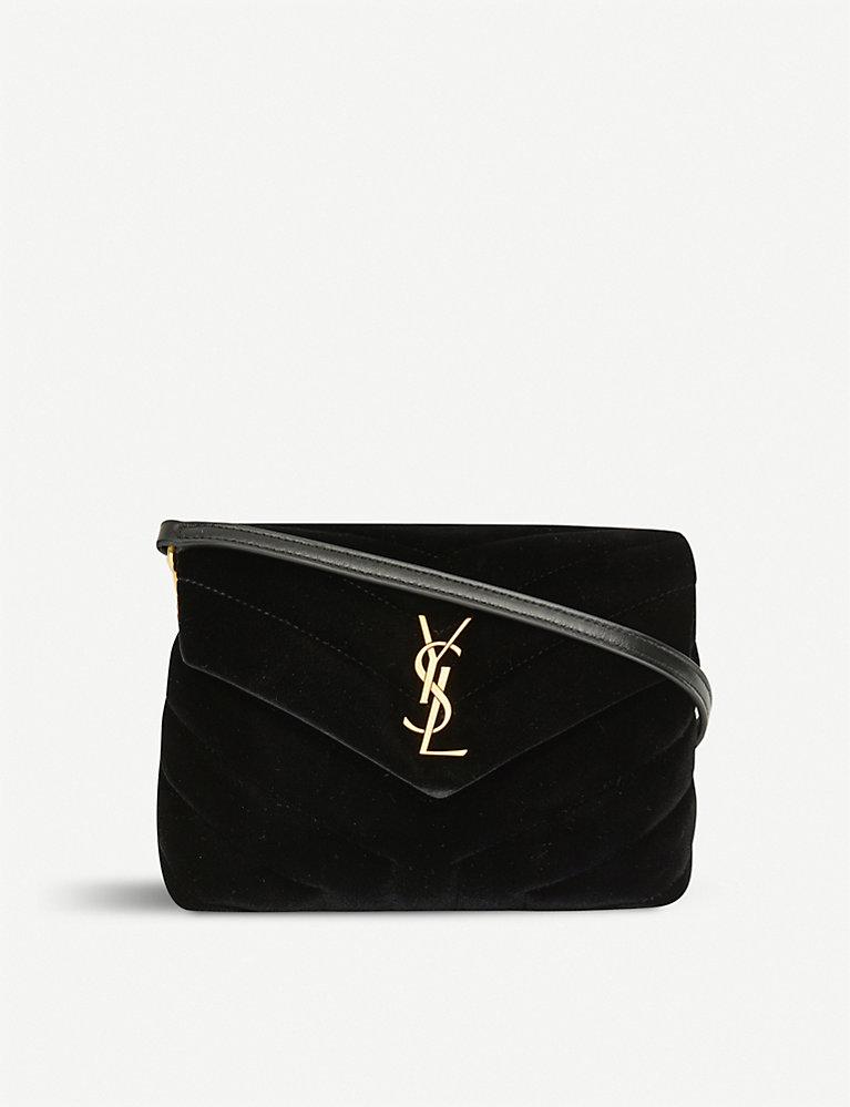f34b87618d1 SAINT LAURENT - Toy Loulou velvet shoulder bag | Selfridges.com