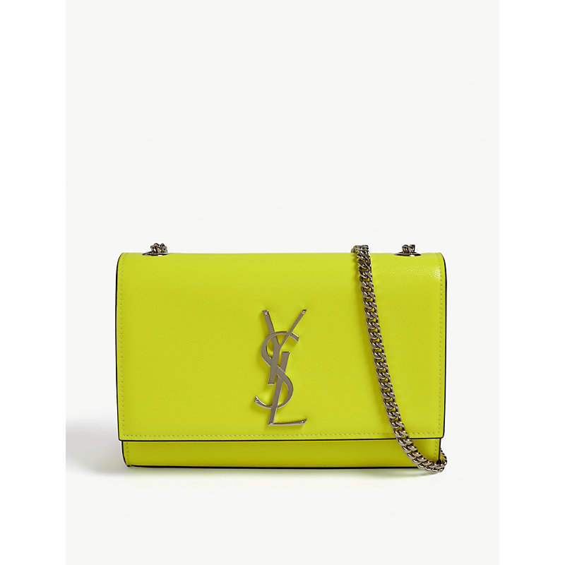 e25dee359a Saint Laurent Kate Monogram Leather Shoulder Bag In Neon Yellow Silver