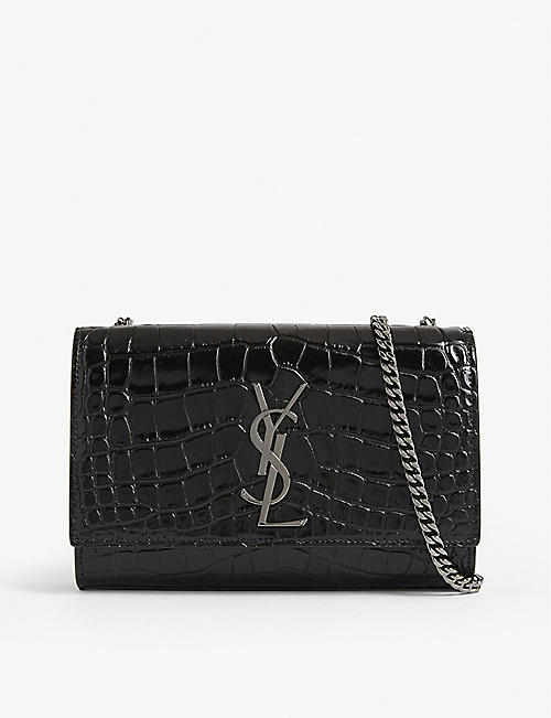 SAINT LAURENT Kate croc-embossed leather shoulder bag