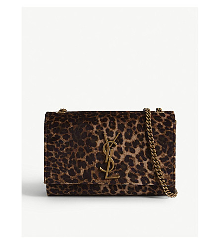SAINT LAURENT Kate small leopard spot velvet shoulder bag (Leopard 18684d3981601