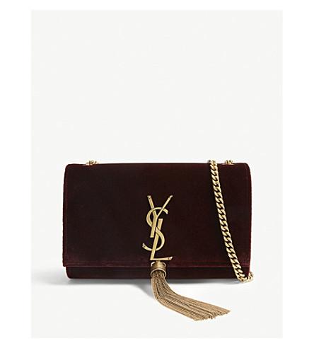 5bbdcb7abb54 ... SAINT LAURENT Kate small velvet shoulder bag (Dark+red. PreviousNext