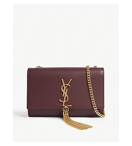 SAINT LAURENT Kate chain tassel small leather cross-body bag (Burgundy gold 7ee16c7d264f