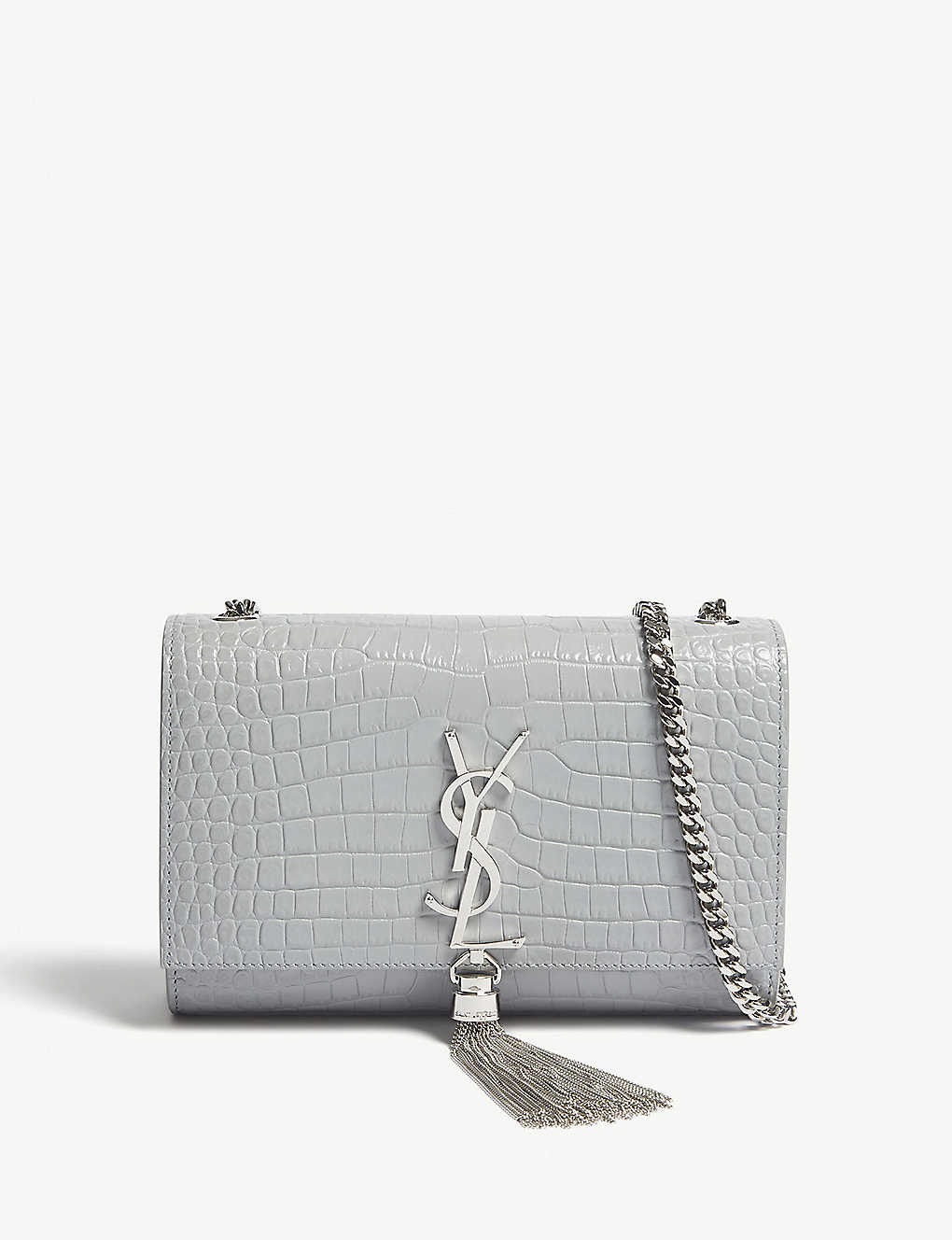 ee93c496418 SAINT LAURENT - Kate small tassel croc-embossed leather shoulder bag ...