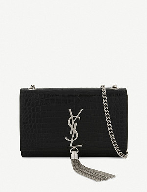 SAINT LAURENT Kate crocodile-embossed leather cross-body bag