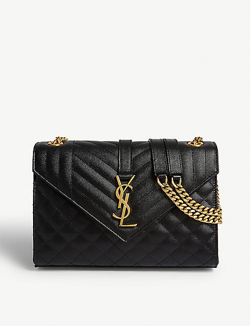 SAINT LAURENT: Monogram quilted leather satchel