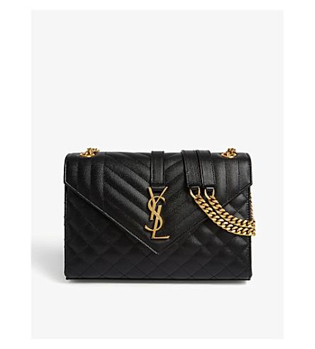 ea6452708052f Black SAINT LAURENT quilted quilted LAURENT gold satchel satchel leather  leather Monogram SAINT Monogram UqBWaPd4q