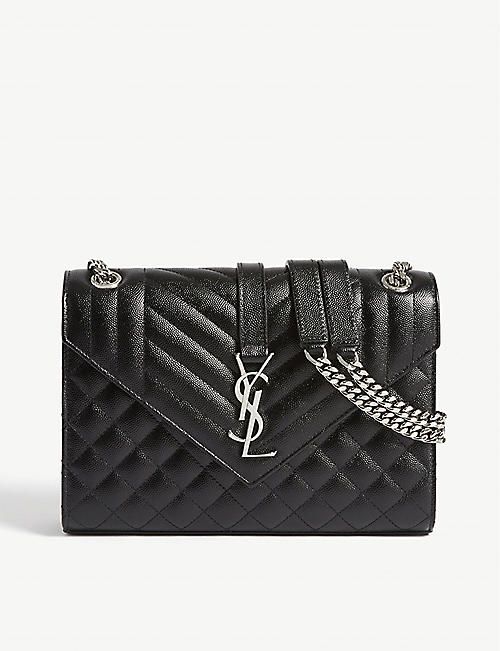 SAINT LAURENT Quilted monogram leather shoulder bag
