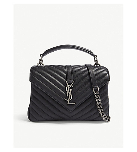 0ed798087b SAINT LAURENT Monogram Collége small quilted leather satchel (Storm+grey  silver