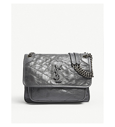 4cb81336686 SAINT LAURENT Monogram Niki medium leather shoulder bag (Storm+grey