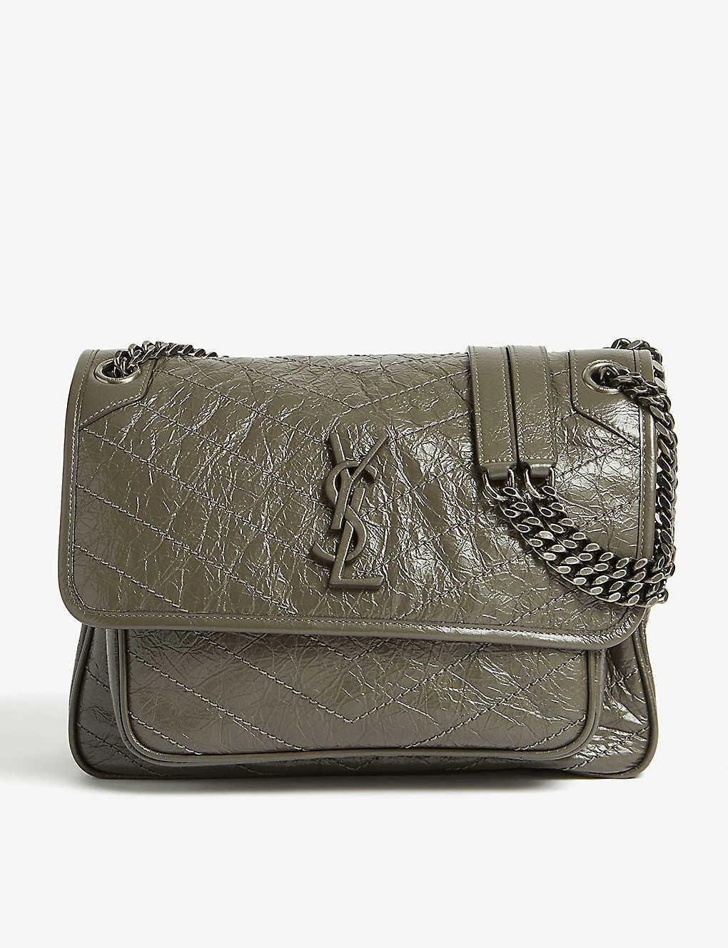 0479c37a4d Medium Monogram Niki leather cross-body bag - Beton grey khaki ...