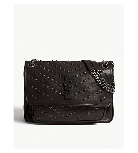 ... SAINT LAURENT Niki monogram leather studded shoulder bag (Black.  PreviousNext 2919f6702bc5c