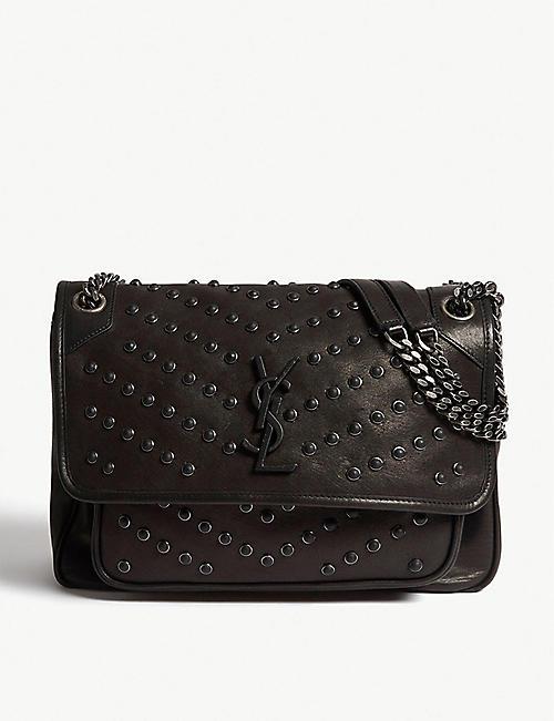 7ff6e2de19c1 SAINT LAURENT - Niki monogram leather studded shoulder bag ...