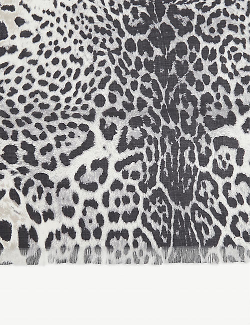 SAINT LAURENT Leopard print silk scarf