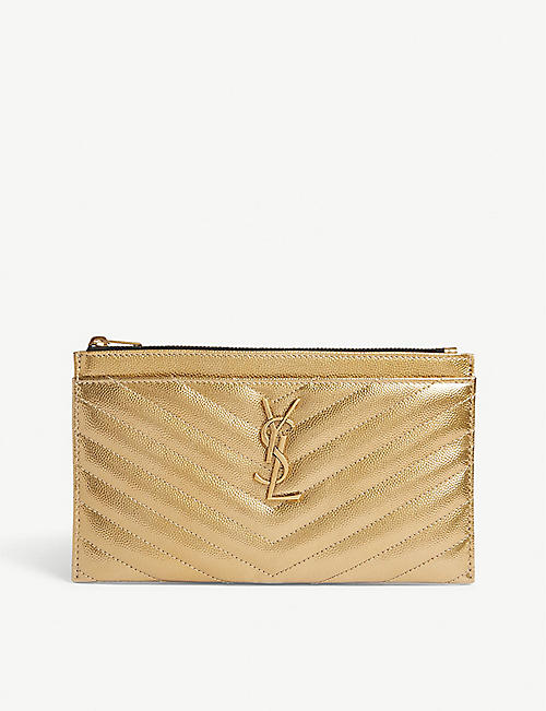 811a7f88aaedb SAINT LAURENT Monogram quilted leather pouch