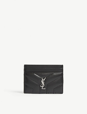 new arrival 33896 faf66 SAINT LAURENT - Monogram quilted leather card holder | Selfridges.com