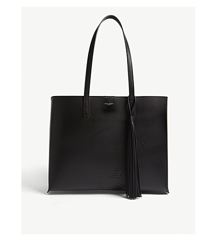 d0720e02c SAINT LAURENT - Perforated logo large leather shopper | Selfridges.com