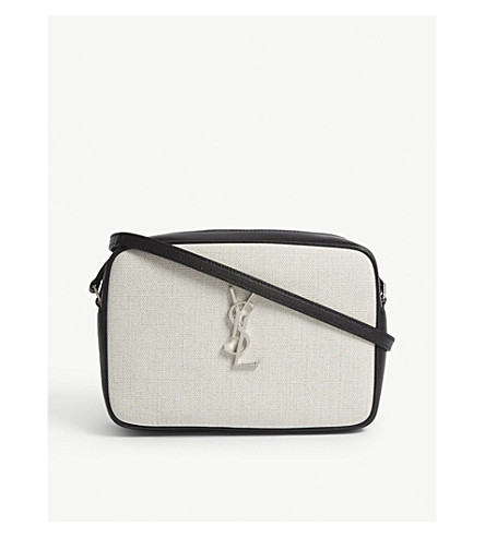 1826ed6b123e ... SAINT LAURENT Lou linen camera bag (Black cream. PreviousNext
