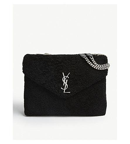 b20258d6739b SAINT LAURENT Loulou medium shearling cross-body bag (Black