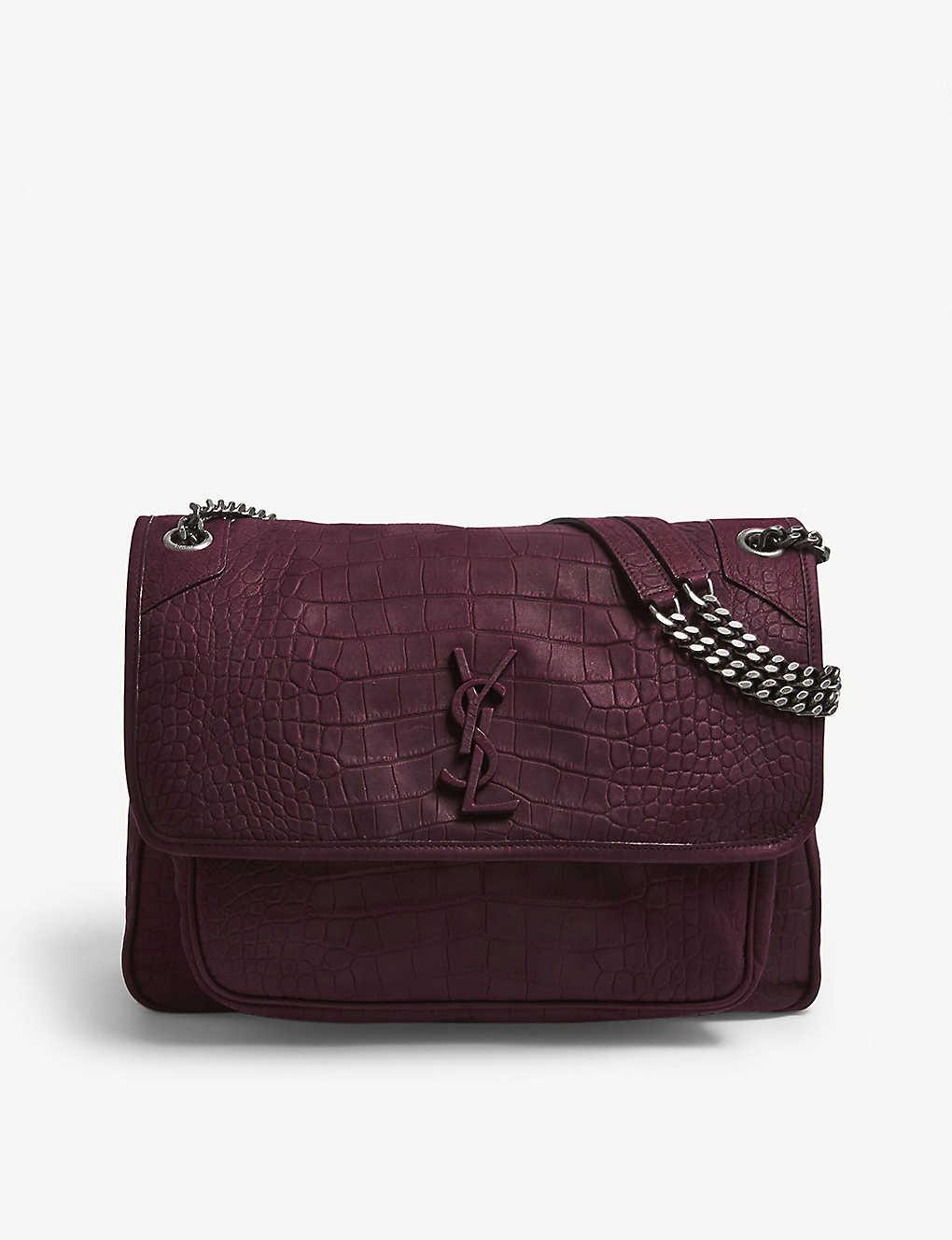 e984d1c55be SAINT LAURENT - Niki croc-embossed suede shoulder bag | Selfridges.com