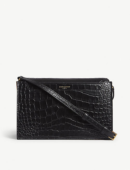 SAINT LAURENT Catherine croc-embossed leather satchel
