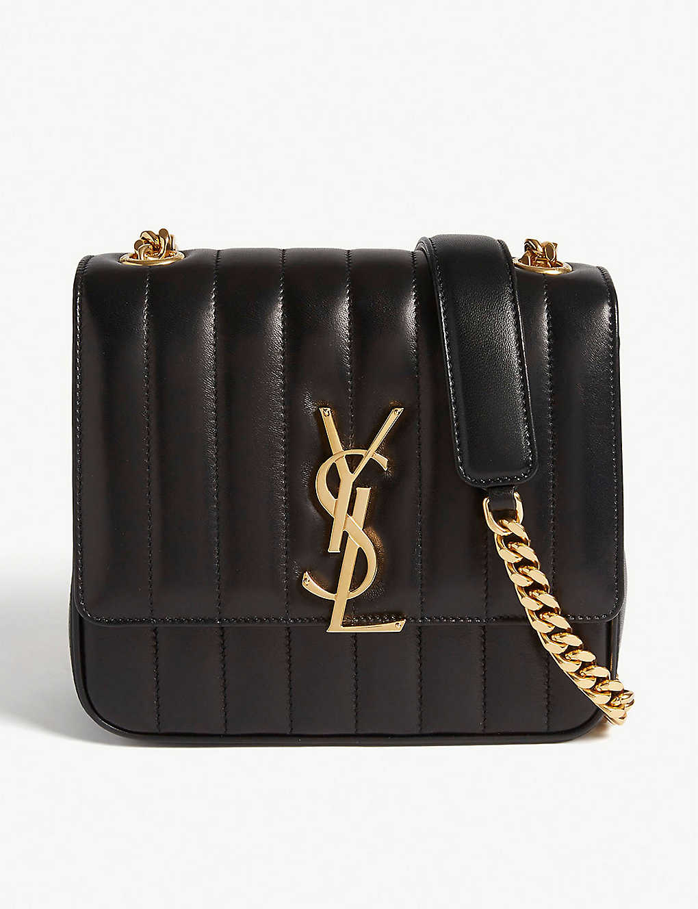9fcc00bf87f SAINT LAURENT - Vicky medium quilted leather cross-body bag ...