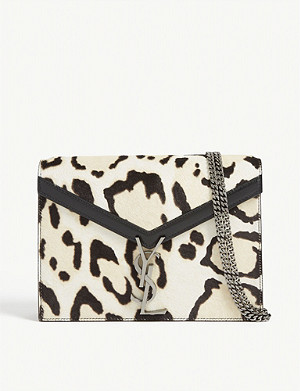SAINT LAURENT Cassandra zebra print leather shoulder bag