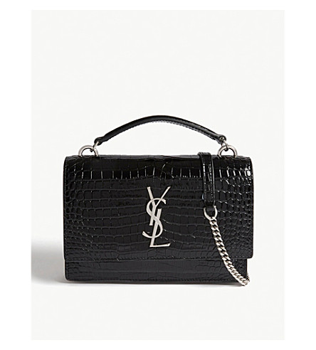 ... SAINT LAURENT Sunset croc-embossed leather shoulder bag (Black.  PreviousNext 816be67f6cfeb